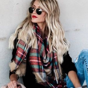 Accessories - PLAID PRINT OVERSIZED BLANKET SCARF